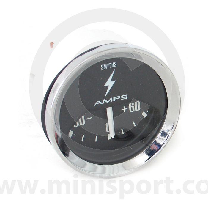 Smiths Ammeter 60/60 Gauge - Black face with chrome bezel