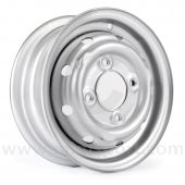 """21A1282S 3.5"""" x 10"""" Cooper S steel wheel finished in silver."""