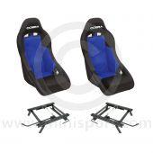 Cobra Clubman Seat Package - Black/Blue Centre