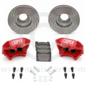 """Cooper 8.4"""" Vented 4 pot Alloy Caliper Brake Conversion Road Kit - Special Edition Painted Red"""