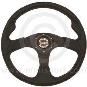 Spring Alex 320BCRS Black Steering Wheel Red Stitching - 320mm