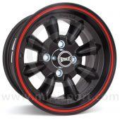 "7"" x 13"" black/red pinstripe Ultralite alloy wheel and Yokohama A539 tyre package"