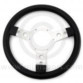 """Sport Steering Wheel - 13"""" - Black Vinyl - Semi Dished"""