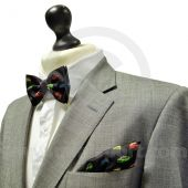 Matching Bow Tie Pre-tied and Pocket Square With Classic Mini design