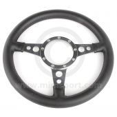 "13"" Flat Black Leather Steering Wheel with Polished Spokes"