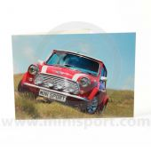 Greetings card featuring a red Rover Mini Cooper Sportspack