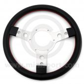 "STW33SPVBR 13"" diameter black vinyl sport steering wheel, perfect for your Mini."