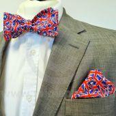 Pre-Tied Bow Tie & Pocket Square in Union Jack Design
