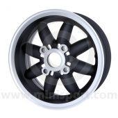 5 x 12 Rose Petal Wheel - Matt Black/Silver Rim