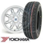 "4.5"" x 10"" silver original Minilite Cooper S alloy wheel and Yokohama A008 tyre package"