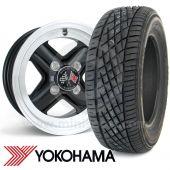 "5"" x 12"" black Revolution alloy wheel and Yokohama A539 tyre package"