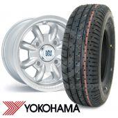 "6"" x 10"" silver original Minilite alloy wheel and Yokohama A008 tyre package"