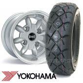 "6"" x 10"" silver Ultralite alloy wheel and Yokohama A032 tyre package"