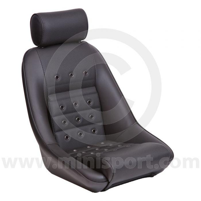 Mini Classic RS 40 & Headrest - Black Soft Grain Vinyl all over/Black Soft Grain Vinyl Piping