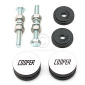 Classic Mini Cooper Knurled & Engraved Grille Buttons - Black