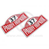 Paddy Hopkirk Rally Plate Decal pair