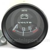 SMIBV2220-00B Smiths Classic voltmeter, 52mm gauge with black face and black bezel.